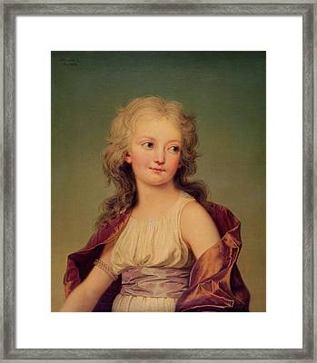 Portrait Of Marie-therese Charlotte Of France 1778-1851 Duchess Of Angouleme, 1786 Oil On Canvas Framed Print