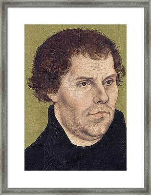 Portrait Of Martin Luther Aged 43 Framed Print by Lucas Cranach