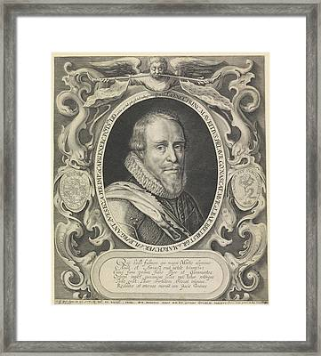Portrait Of Maurice, Prince Of Orange, Willem Van De Passe Framed Print by Willem Van De Passe And Crispijn Van De Passe (i)