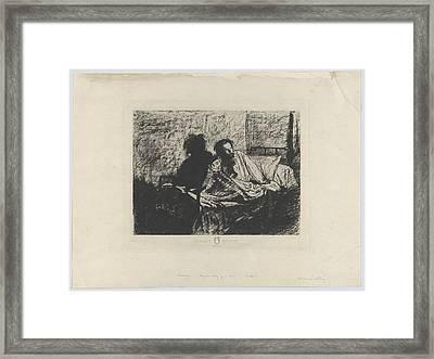 Portrait Of Meryon Sitting Up In Bed Framed Print