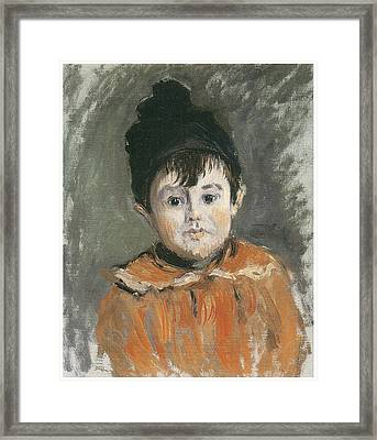 Portrait Of Michel In A Pompon Hat Framed Print by Claude Monet