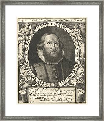 Portrait Of Michel Waltherus At The Age Of 42 Framed Print by Willem Jacobsz. Delff