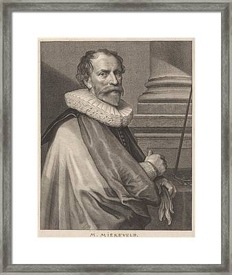 Portrait Of Michiel Jansz. Mierevelt Framed Print by Willem Jacobsz. Delff And Anthony Van Dyck