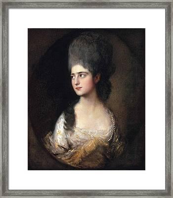 Portrait Of Miss Elizabeth Linley  Later Mrs Richard Brinsley Sheridan Framed Print by Thomas Gainsborough
