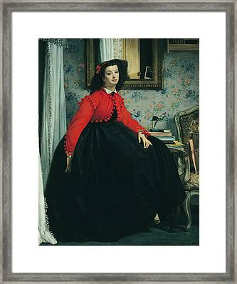 Young Lady In A Red Jacket Framed Print