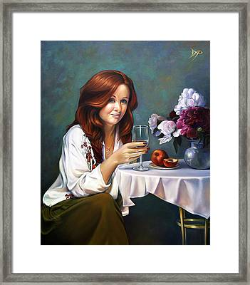 Portrait Of Nadia With Peonies And Peaches Framed Print