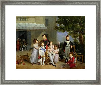 Portrait Of Napoleon Bonaparte 1769-1821 With His Nephews And Nieces On The Terrace At Saint-cloud Framed Print by Louis Ducis