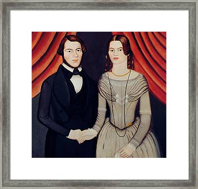 Portrait Of Newlyweds Framed Print by American School