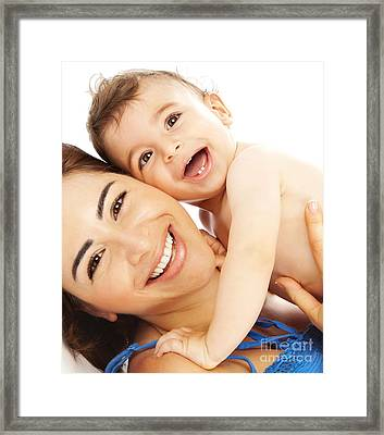 Portrait Of Nice Boy With Mother Framed Print by Anna Om