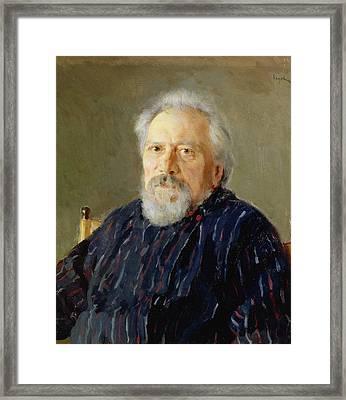 Portrait Of Nikolay Leskov Oil On Canvas Framed Print by Valentin Aleksandrovich Serov