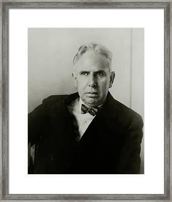 Portrait Of Novelist Theodore Dreiser Framed Print