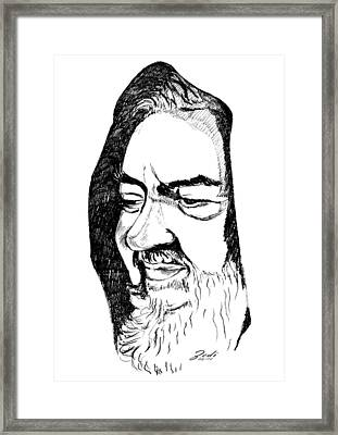 Framed Print featuring the drawing Portrait Of Padre Pio by Ze  Di