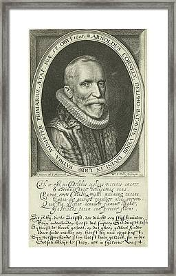 Portrait Of Pastor Arnold Cornelisz. Crusius At The Age Framed Print by Willem Jacobsz. Delff