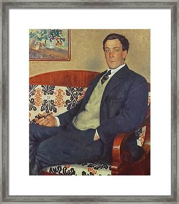 Portrait Of Peter Kapitza 1926 Framed Print by Boris Mihajlovic Kustodiev