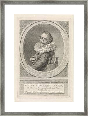 Portrait Of Pieter Adriaanz Raap, Jacob Houbraken Framed Print by Jacob Houbraken