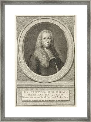 Portrait Of Pieter Rendorp, Jacob Houbraken Framed Print by Jacob Houbraken