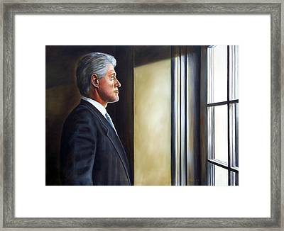 Portrait Of President William Jefferson Clinton In Profile Framed Print by RB McGrath