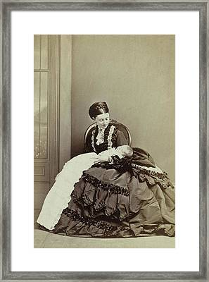 Portrait Of Princess Helena Of Waldeck Pyrmont With Baby Framed Print