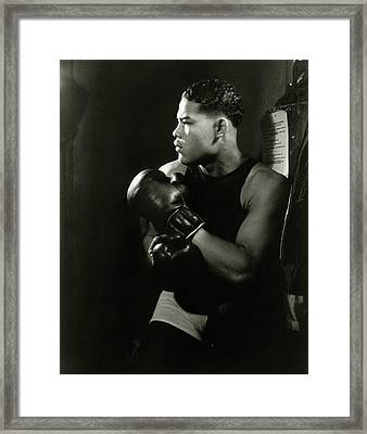 Portrait Of Professional Boxer Joe Louis Framed Print by Lusha Nelson
