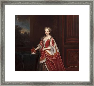 Portrait Of Queen Caroline Wilhelmina Framed Print by Enoch Seeman
