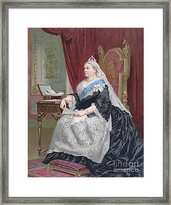 Portrait Of Queen Victoria Framed Print by English School