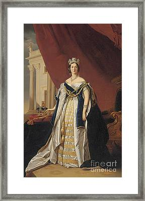 Portrait Of Queen Victoria In Coronation Robes Framed Print by Franz Xaver Winterhalter