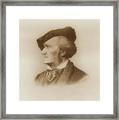 Portrait Of Richard Wagner German Framed Print by German School