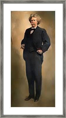Portrait Of Samuel L Clemons - Mark Twain Framed Print by Mountain Dreams