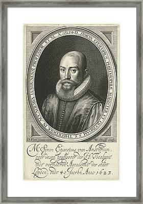 Portrait Of Simon Episcopius At The Age Of 40 Framed Print by Willem Jacobsz. Delff And Dirck Pietersz. Bontepaert