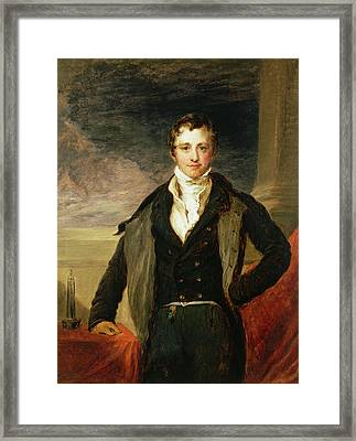 Portrait Of Sir Humphry Davy 1778-1829 Oil Framed Print by John Linnell