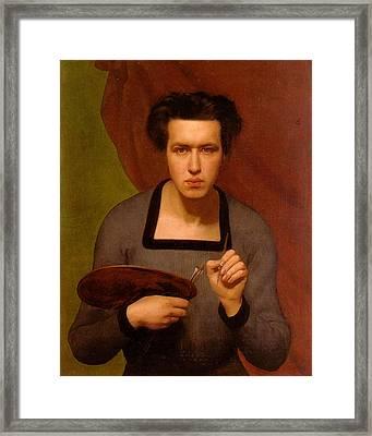 Portrait Of The Artist Framed Print by Anne Francois Janmot