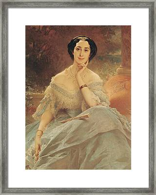 Portrait Of The Countess Of Hallez-claparede Framed Print by Edouard Louis Dubufe