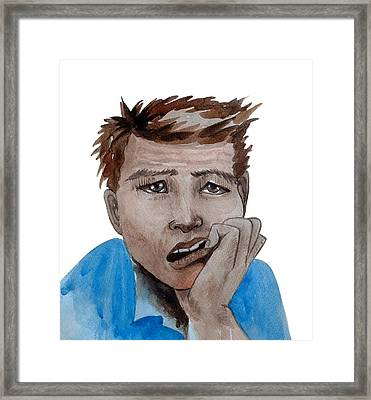 Portrait Of The Emotional Face In Frustration  Framed Print by Thewet Nonthachai