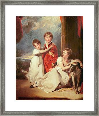 Portrait Of The Fluyder Children, 1805 Oil On Canvas Framed Print by Sir Thomas Lawrence