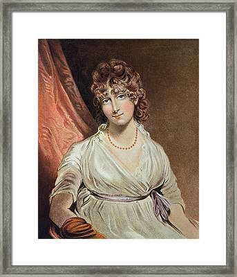 Portrait Of The Honourable Mrs. Bouverie Engraved By I.r Smith Fl.1800-30 Coloured Engraving Framed Print