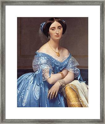 Portrait Of The Princesse De Broglie Framed Print by Jean Auguste Dominique Ingres
