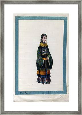 Portrait Of The Wife Of 2 Rank Mandarin Framed Print by British Library