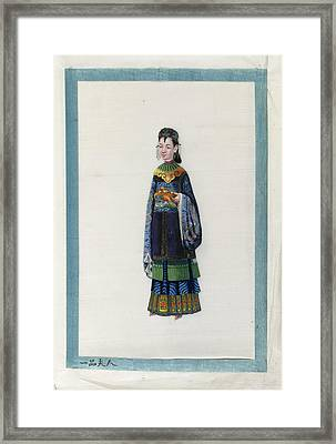 Portrait Of The Wife Of Red Button Mandar Framed Print by British Library