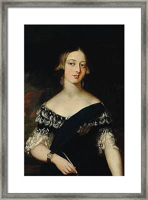 Portrait Of The Young Queen Victoria Framed Print by English School