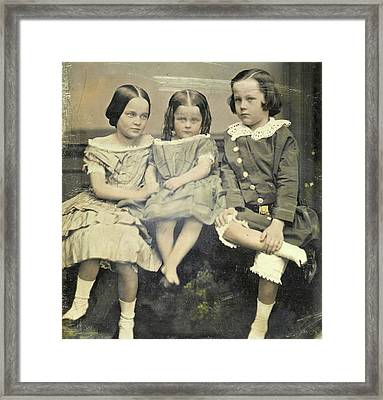Portrait Of Three Children, John Jabez Edwin Mayall Framed Print by Artokoloro