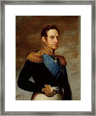 Portrait Of Tsar Nicholas I Framed Print by Vasili Andreevich Tropinin