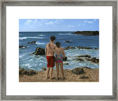 Portrait Of Two Children At Beach Framed Print by Cecilia Brendel