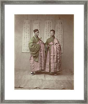 Portrait Of Two Chinese Buddhist Monks With Rosary Framed Print by Artokoloro