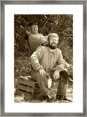 Portrait Of Two Confederates Framed Print by Thia Stover