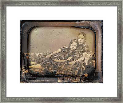Portrait Of Two Girls Reclining On Chaise Lounge Sheldon K Framed Print by Litz Collection