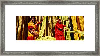 Portrait Of Two Mature Women Working Framed Print by Panoramic Images