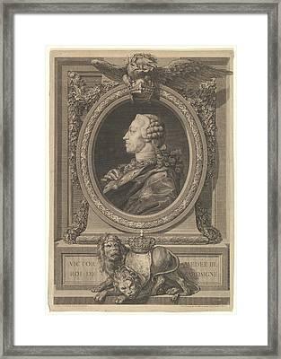 Portrait Of Victor Am�d�e, Roi De Framed Print by Augustin de Saint-Aubin