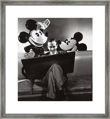 Portrait Of Walt Disney Sitting With Open Cartoon Framed Print