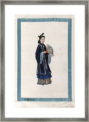 Portrait Of Wife Of Newly Elected Mandari Framed Print by British Library