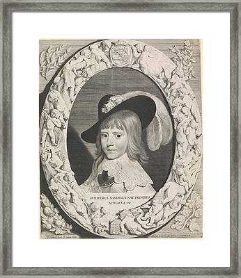 Portrait Of Willem II In An Ornate Oval Frame With Putti Framed Print